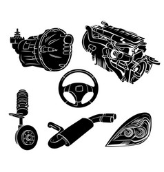Parts car set vector