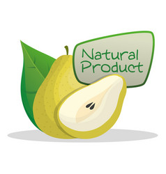 pear natural product label vector image