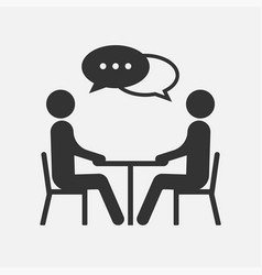 People at a table talking icon isolated on white vector