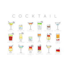 Poster cocktails flat menu vector
