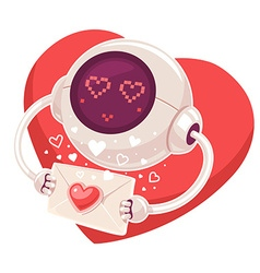 Robot with envelope and red heart on whit vector