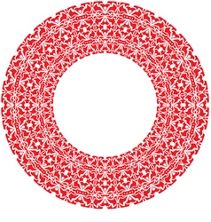 Round thick frame from red ornamentation vector