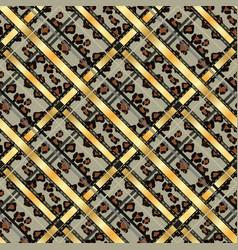 Scottish tartan grunge seamless pattern leopard vector