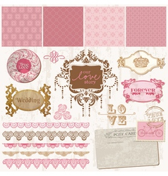 Scrapbook design elements - Vintage Wedding Set vector image