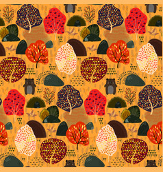 seamless background with autumn stylized trees and vector image
