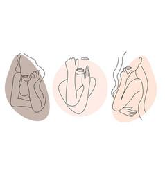 set abstract minimalistic female figure vector image