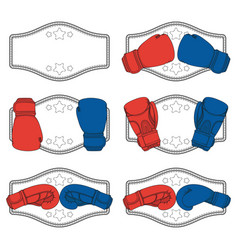 set color with boxing gloves vector image