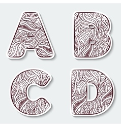 Set of capital letters A B C D from the alphabet vector image