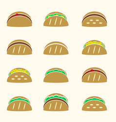Set of color tortilla tacos food icons set eps10 vector