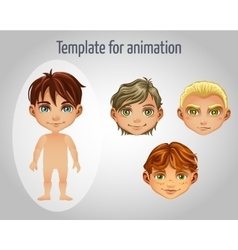 Set of four images of boys for animation vector image vector image