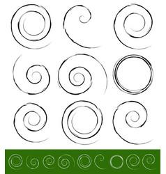 Set of grungy swirls spirals vector