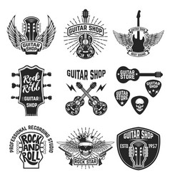 Set of guitar store emblems design elements for vector
