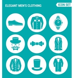 set of round icons white Elegant men s clothing vector image