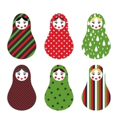 Set of russian traditional wooden toys babushka vector