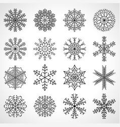 set of sixteen snowflakes christmas vector image