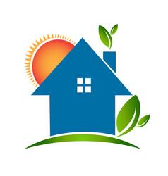 Simple house green environment icon vector
