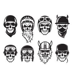 skull bandana helmet bikers rock symbols tattoo vector image