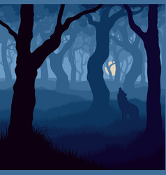 Square wolf howling at moon vector