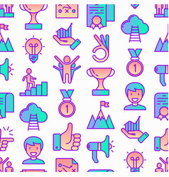 Success seamless pattern with thin line icons vector