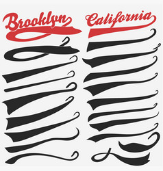swooshes set for athletic typography vector image