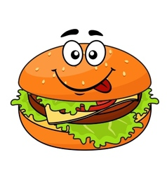 Tasty meaty cheeseburger on a sesame bun vector