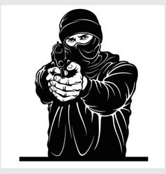 Terrorist with gun - gangster with gun ghetto vector