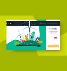 think green web page template windmill eco energy vector image