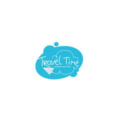 travel time lettering logo with white clouds vector image