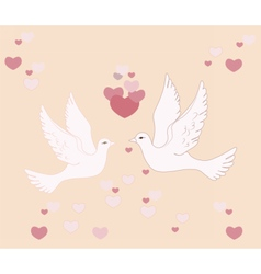 Two pigeons lovely flying in sky vector