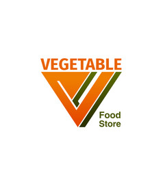 vegetable food store badge vector image