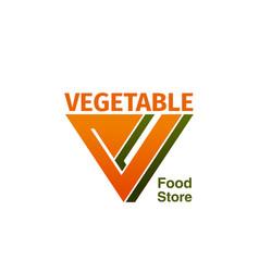 Vegetable food store badge vector
