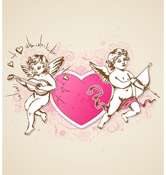 Vintage background with pink heart and Cupids vector image