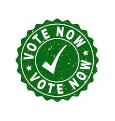 Vote now scratched stamp with tick vector