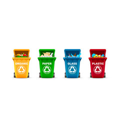 waste bins waste sorting organic plastic glass vector image