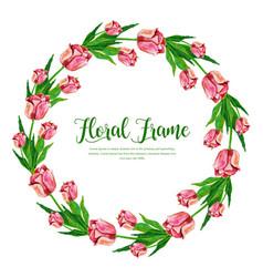 Watercolor spring floral frame vector
