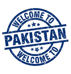 Welcome to pakistan blue stamp vector