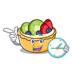 with clock fruit tart character cartoon vector image