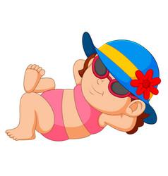 woman in bikini and sun hat relaxing vector image