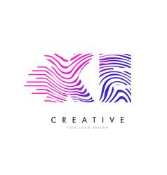 Xe x e zebra lines letter logo design with vector