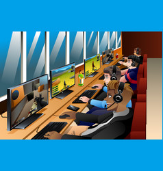 Young people playing games on an internet cafe vector