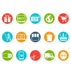 ecommerce round button icons set vector image vector image