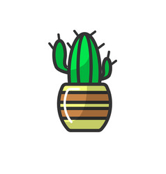 mexican cactus in striped pot isolated on white vector image vector image