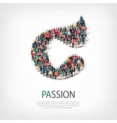 passion people sign 3d vector image vector image