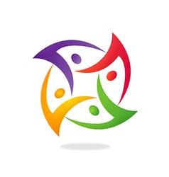 people group circular teamwork logo vector image vector image