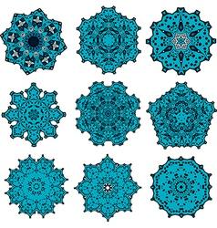 set of mandalas snowflakes vector image vector image