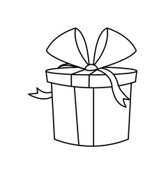 christmas gift box wrapped bow outline vector image