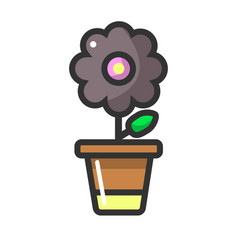 dark purple flower in clay pot isolated on white vector image vector image