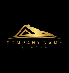 gold real estate logo vector image vector image