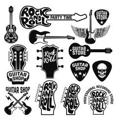 guitar store labels and design elements design vector image vector image