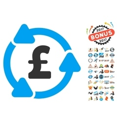 Pound Circulation Icon With 2017 Year Bonus vector image